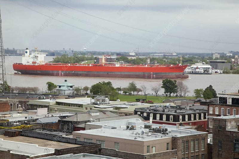 Oil tanker on the Mississippi River