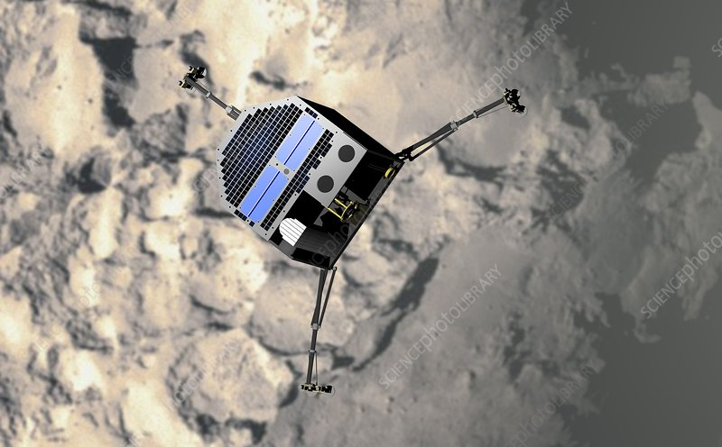Artwork of Philae approaching comet 67P