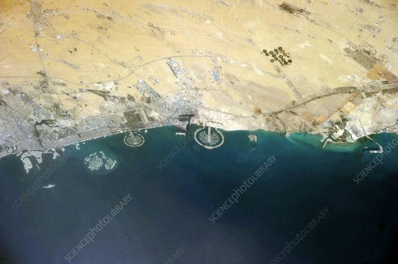 Artificial islands, Dubai, ISS image