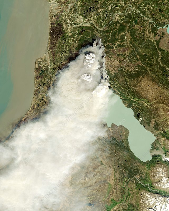 Forest fire, Alaska, satellite image