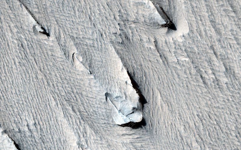 Yardangs on Mars, satellite image