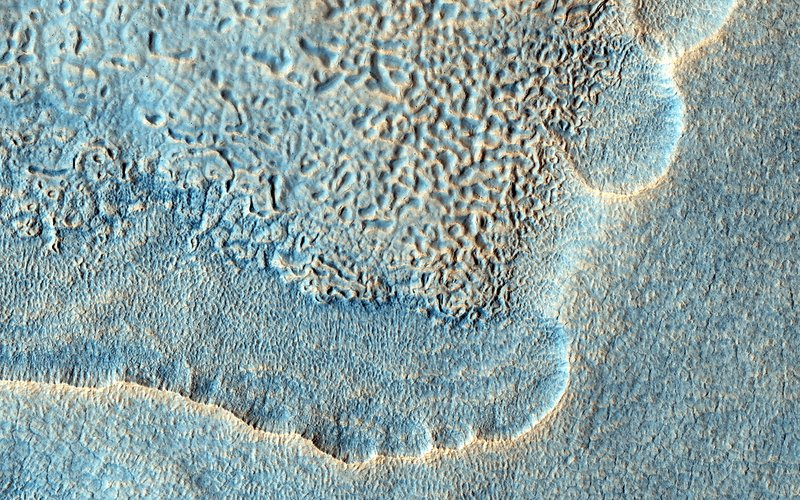 Crater ejecta on Mars, satellite image