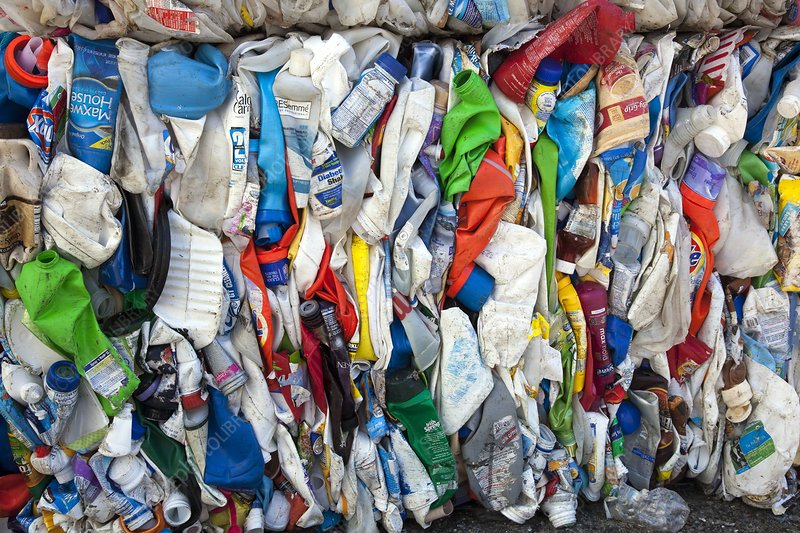 Plastic bottles at a recycling plant