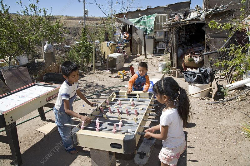 Children playing in a slum, Mexico