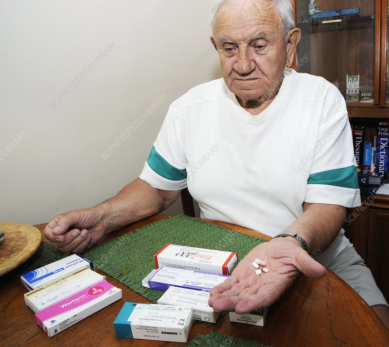 Senior man with prescription drugs