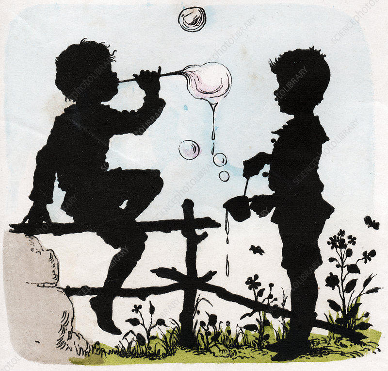 Children blowing bubbles, illustration
