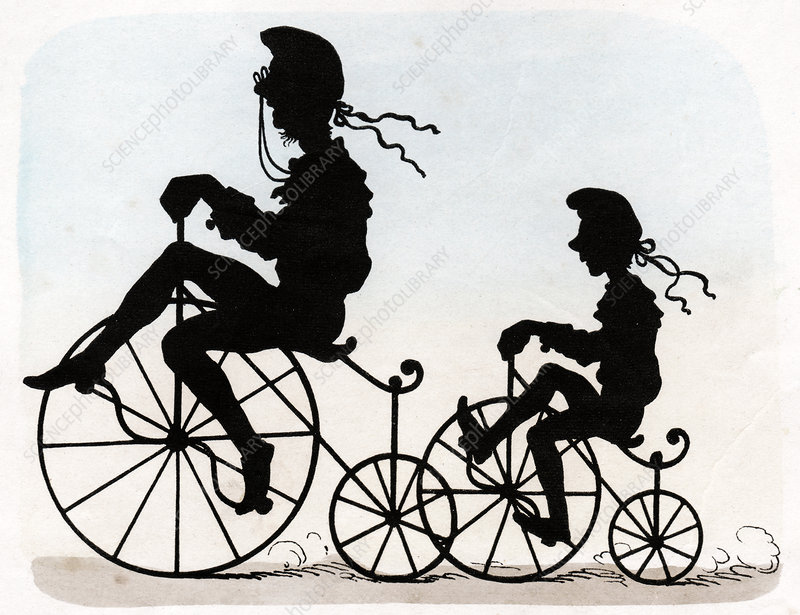 Children riding velocipedes, illustration