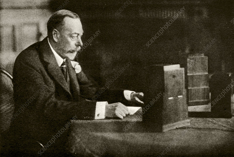 King George V speaking on the radio