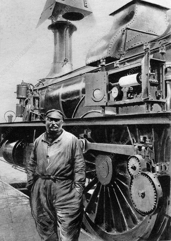 19th C train and driver, historical image