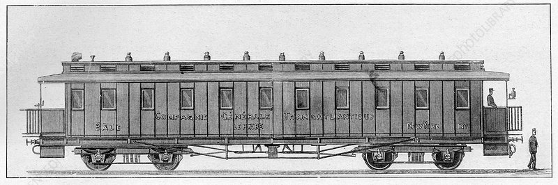 19th Century railway wagon, illustration