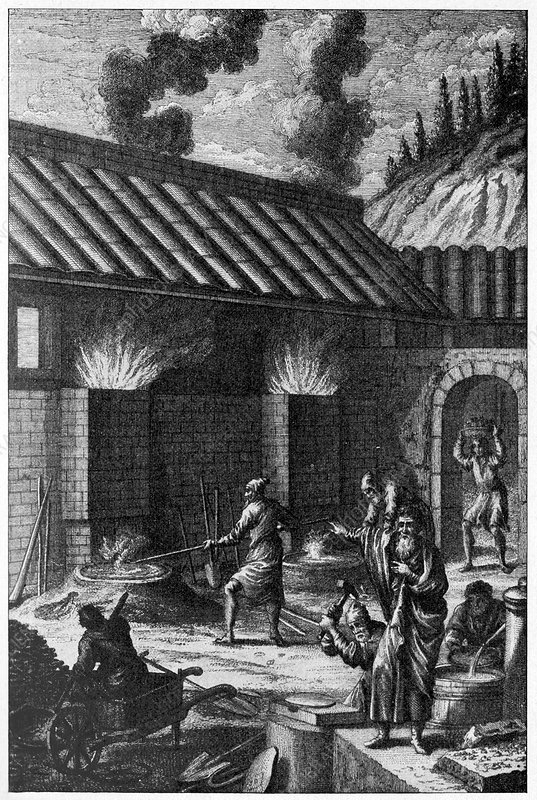 Ancient ironworks, illustration