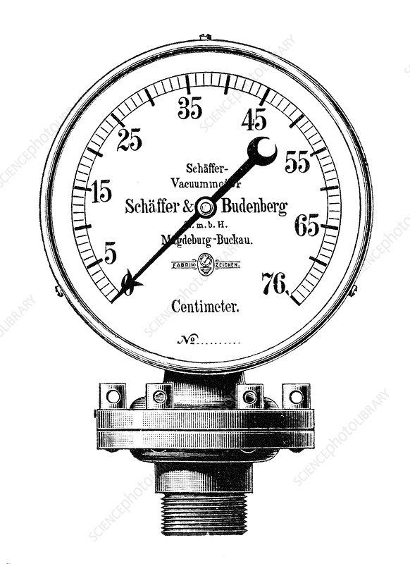Steam engine vacuum gauge, 19th century - Stock Image - C022