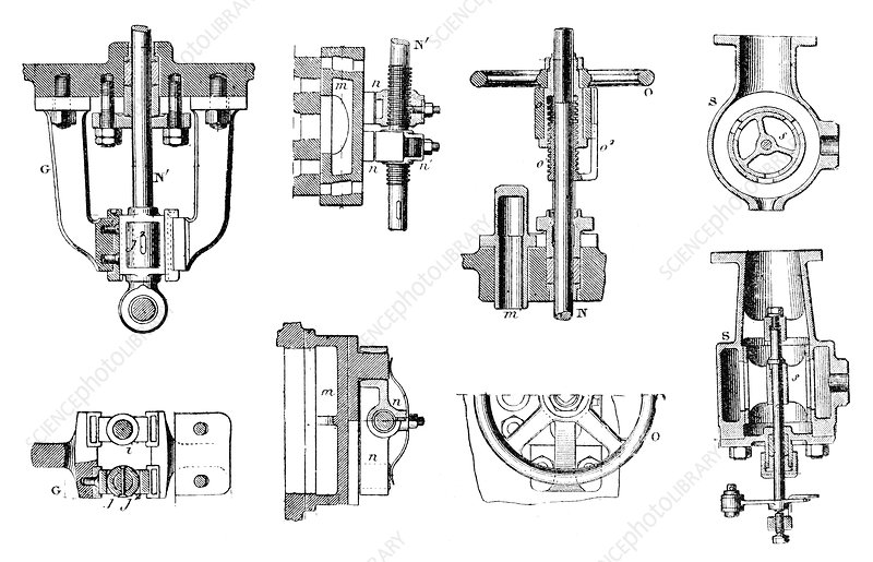 steam engine components  19th century - stock image c022  9110