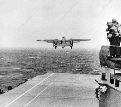 B-25 bomber taking off during WWII