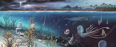 Cretaceous land and marine life, artwork