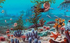 Jurassic underwater scene, illustration