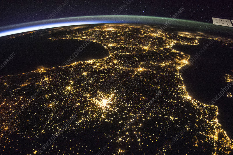 Space and France at night, ISS image