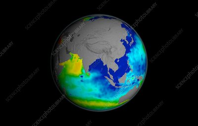 Sea surface salinity, Aquarius image