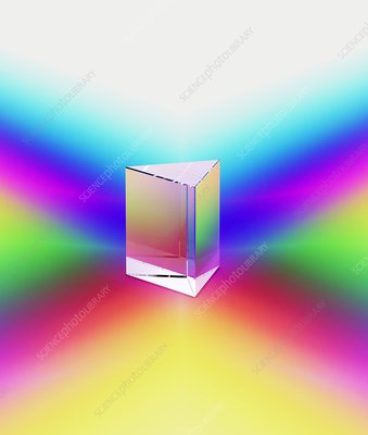 Prism refracting spectral colours