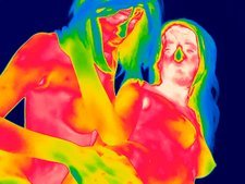 Female couple making love, thermogram