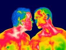 Male couple kissing, thermogram