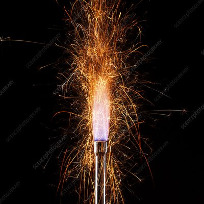 Iron filings in a gas flame
