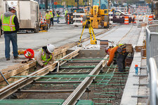 Tram line construction, Detroit, USA