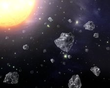 Diamond particles in space, illustration