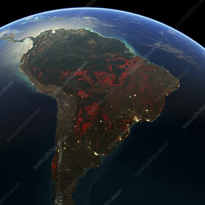 South America deforestation, 2000-2012