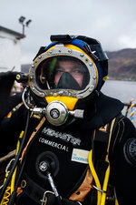 Commercial diver in diving suit