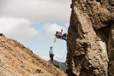 Climbers abseiling
