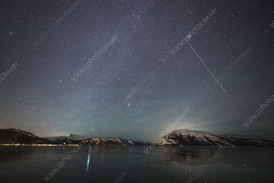 Shooting star and Milky Way, Norway