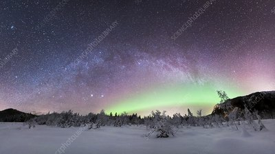 Aurora borealis and Milky Way, Norway