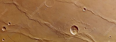 Ridges and craters, Mars Express image