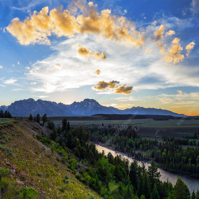 Sunset over Grand Teton National Park, US