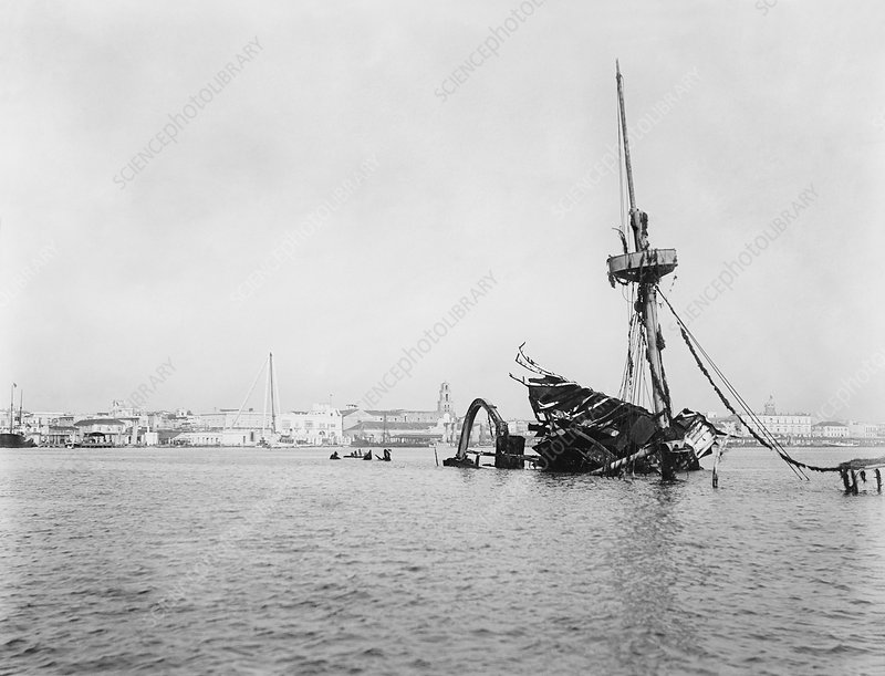 Wreck of USS Maine in Havana, circa 1900