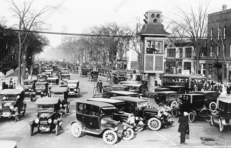 Traffic control in Detroit, circa 1920s