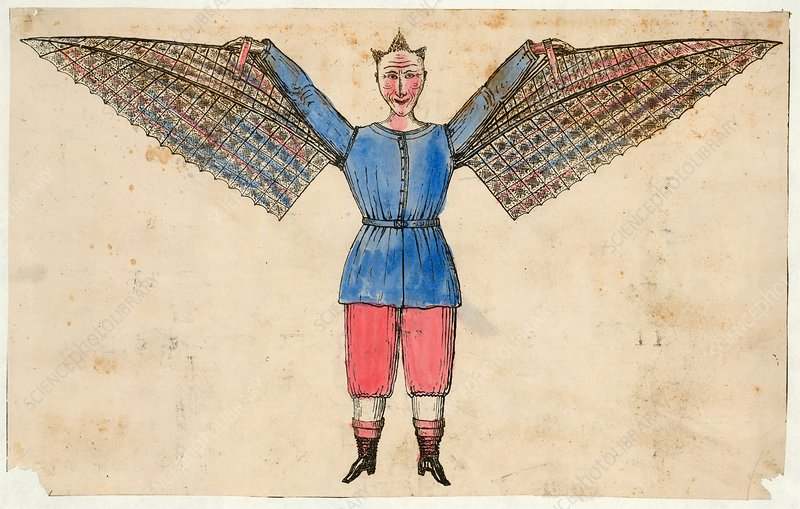 Human ornithopter, 19th century