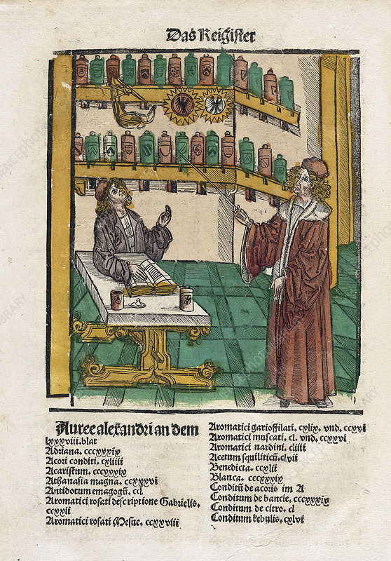 Alchemist with his student, 16th century