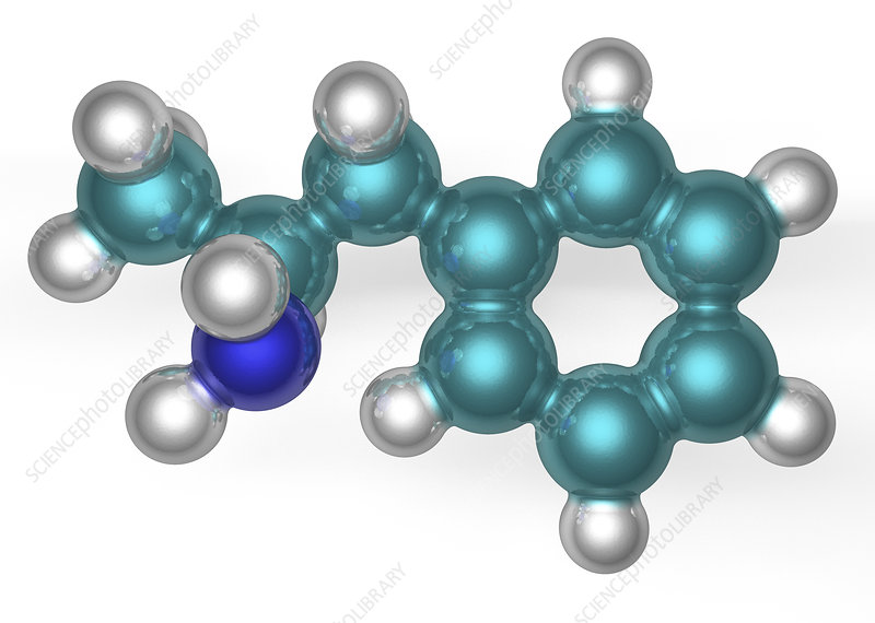 Amphetamine molecule, illustration