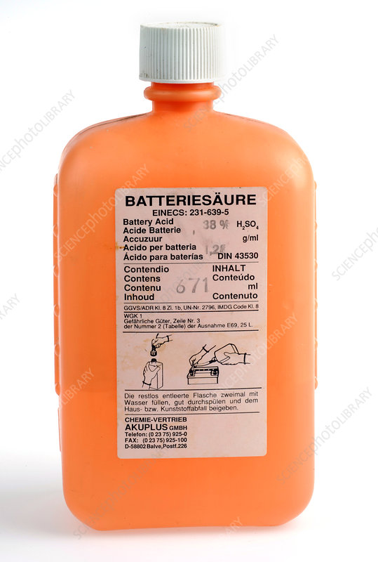 Vehicle battery acid
