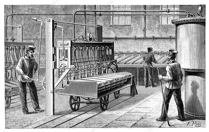 Reheating hot water tanks, 19th century