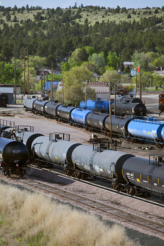 Tanker cars at rail yard, USA