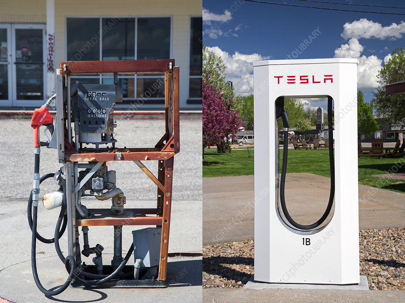 Petrol pump and electric charging point