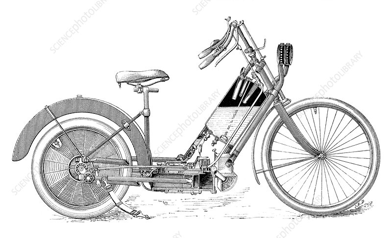 Early petrol motorbike, illustration