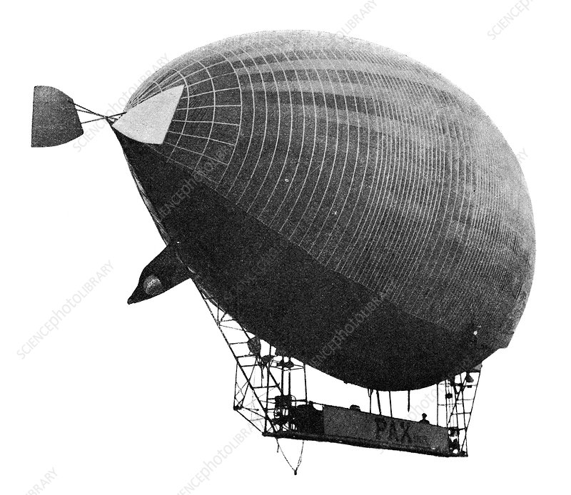 Airship 'Le Pax' in flight, 1902