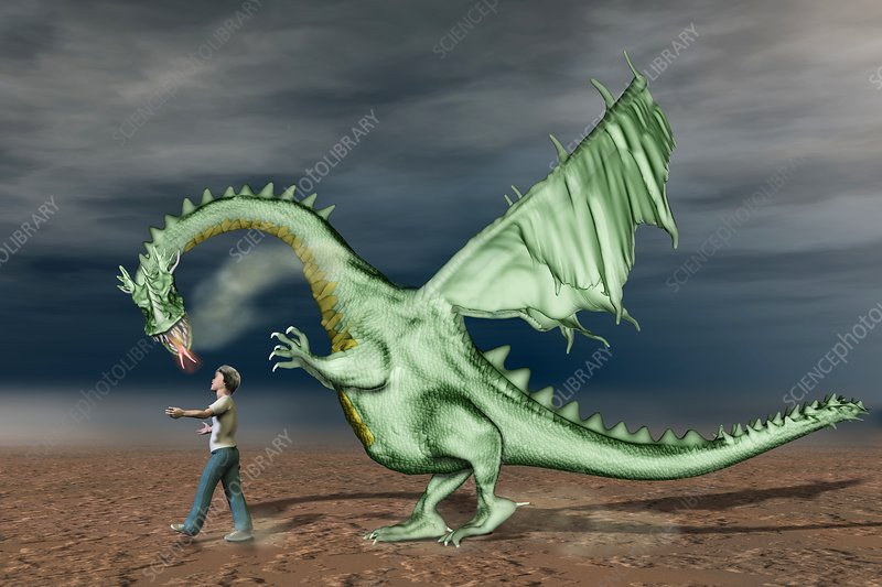 Boy with pet dragon, illustration