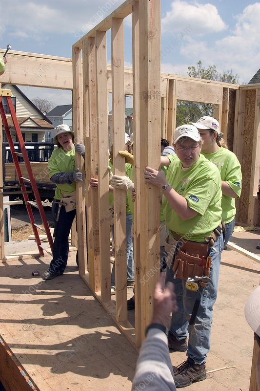 Habitat for Humanity house building, USA