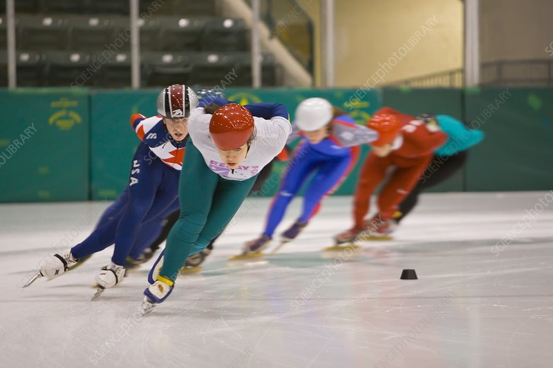 Speed skaters training
