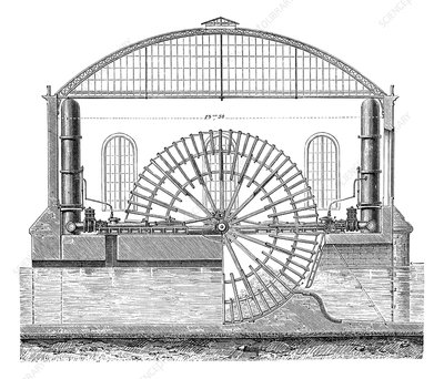 Water wheels at Marly, 1850s